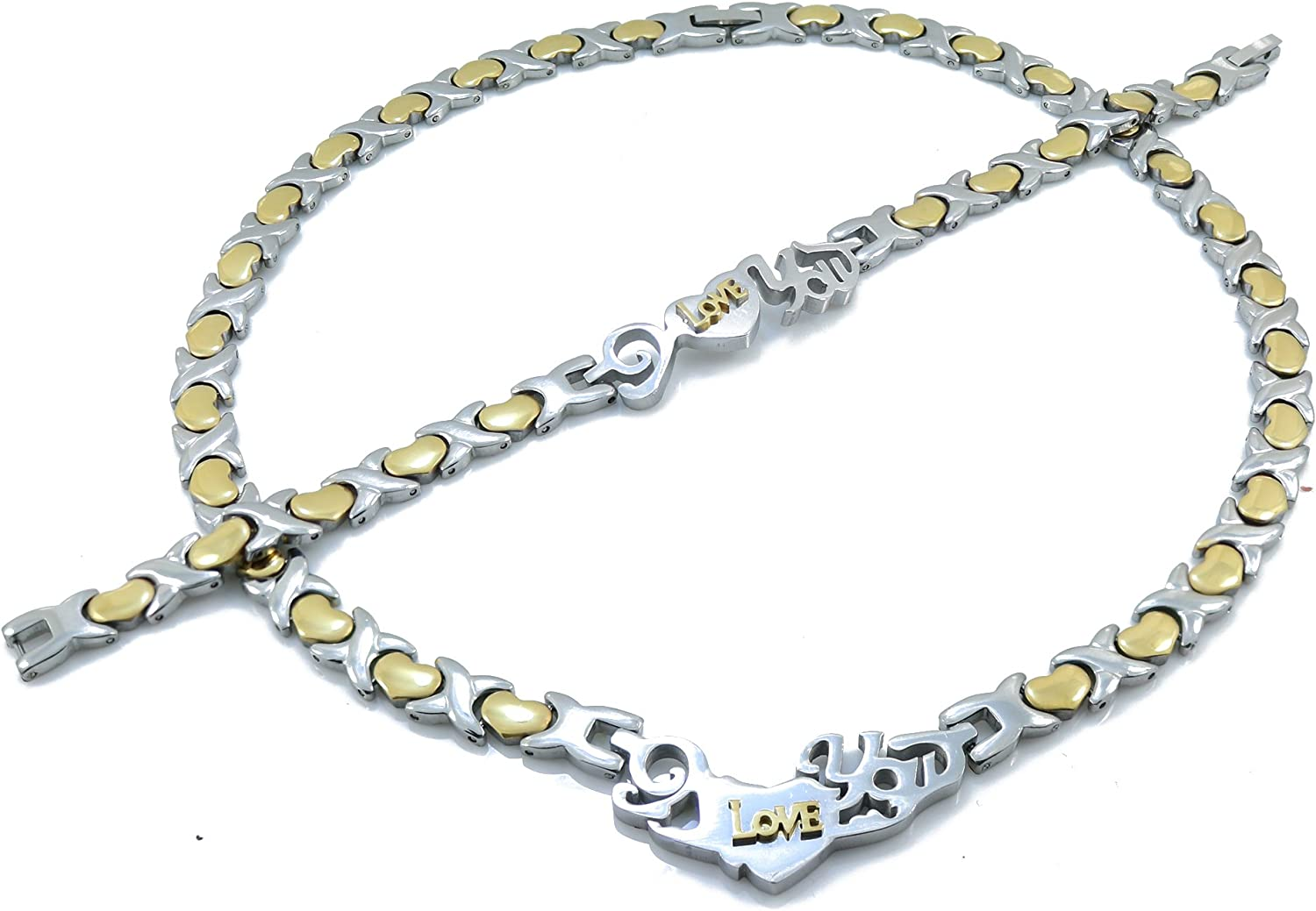 2 TONE I LOVE YOU HUGS AND KISSES NECKLACE AND BRACELET SET XOXO STAINLESS STEEL 20