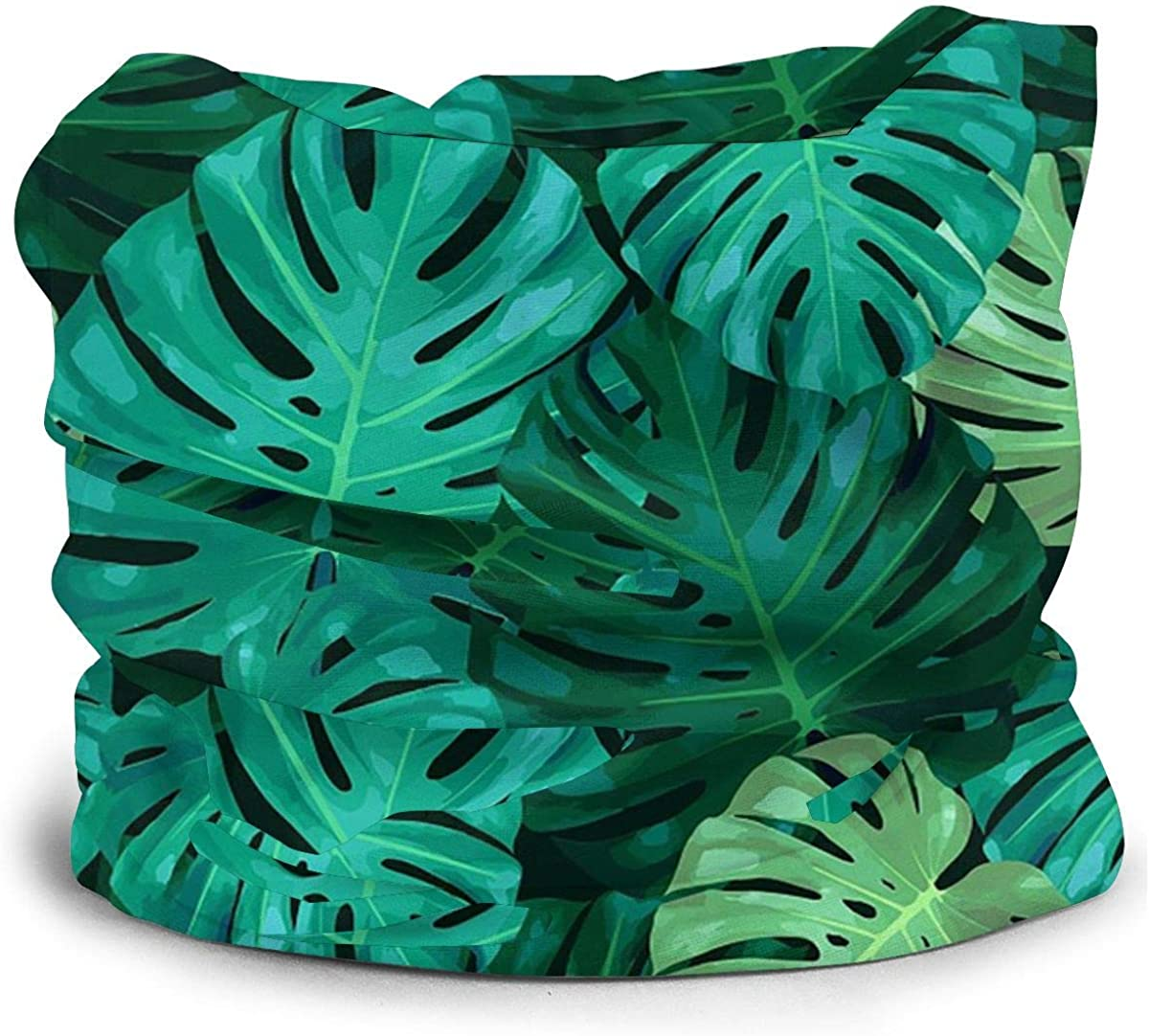 KiuLoam Tropical Style Green Leaf Pattern Seamless Face Mask Bandanas Neck Gaiter for Men and Women, Multifunction Headband Scarf for Dust, Outdoors, Sports