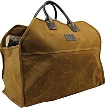 INNO STAGE Heavy Duty Wax Canvas Log Carrier Tote, Large Fire Wood Bag, Durable Firewood Holder,Fireplace Wood Stove Acces...