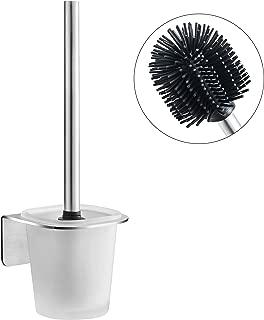 WEISSENSTEIN Escobillero baño Pared | Escobillero Adhesivo Acero Inoxidable | Escbillero WC Pared | Portaescobillas de Baño | Escobilla WC de Acero Inoxidable con Soporte de Vidrio