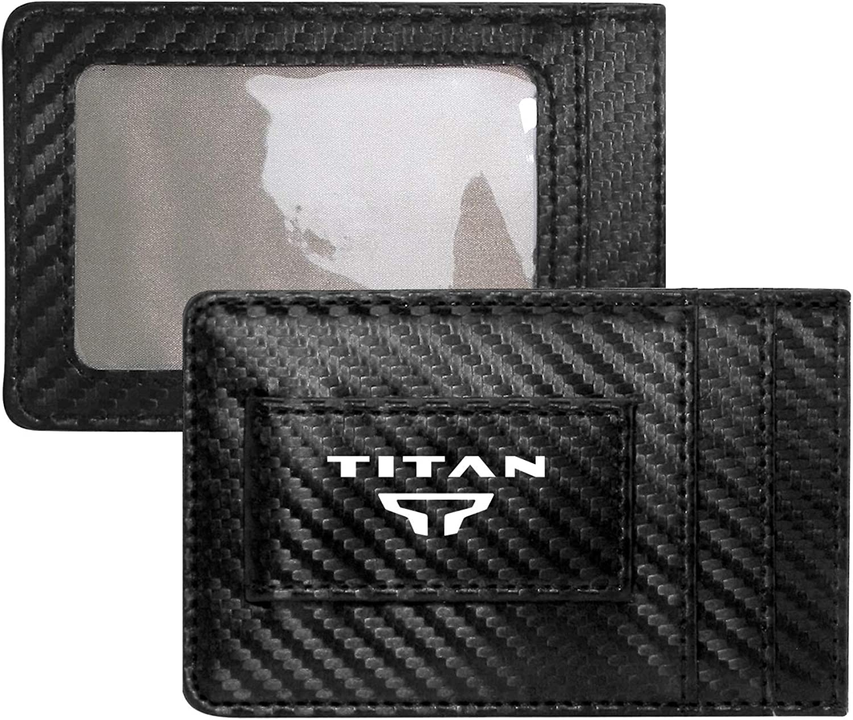 iPick Image Nissan Titan Logo Black Carbon Fiber Leather Wallet RFID Block Card Case Money Holder, 4-3/8