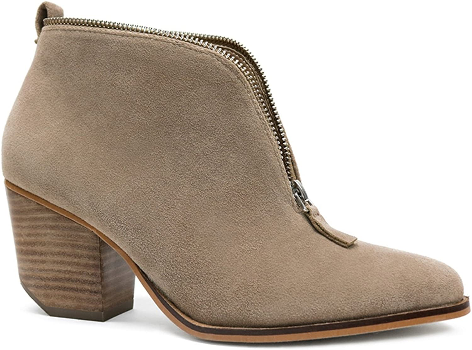 Beast Fashion Carrie-10 Ankle High Stacked Leather Heel Zipper Booties