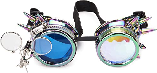 STEAMPUNK HOLOGRAPHIC SPIKED GOGGLES WELDERS FANCY DRESS ACCESSORY