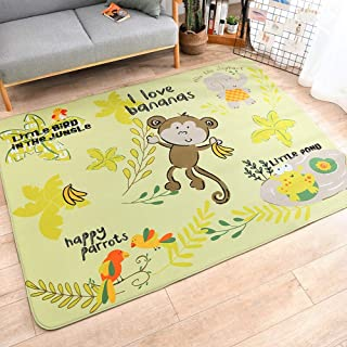 "LOUUG Cartoon Lion Child Carpet, Anti-Skid Kids Area Rugs, for Babies Skin-Friendly Crawling Mat Playroom Bedroom Study Living Room Nursery Hairless Low Pile Stain Resistant Creeping Mat (39.3""x59"")"