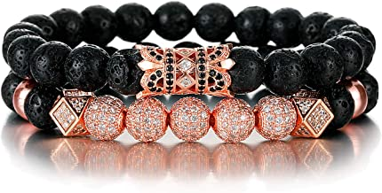 SHIWE 8MM Lava Rock Beads Bracelet for Men Women Essential Oil Beaded Healing Anxiety Bracelets Gift for Father's Day