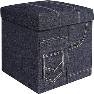 BRIAN & DANY Baúl Puff Taburete Plegable de Almacenamiento Banco Otomano Asiento, Azul Vaquero, 38 x 38 x 38 cm