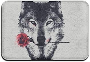 Wolf Flower Personalized Door Mats