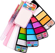 Sunshilor Travel Watercolor Paint Set - 18 Pastel Watercolors with Brush, Foldable Portable Water Color Field Sketch Kit for Outdoor Painting