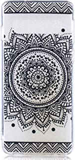 Clear Case for Samsung Galaxy S10 Plus,Aoucase Ultra Thin Art Pattern Soft TPU Rubber Shockproof Non-Slip Back Case with Black Dual-use Stylus,Black Mandala