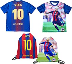 Lionel Messi Jersey Style Lightweight Breathable Picture T-Shirt Kids Gift Set Youth Sizes Soccer Backpack Gift Packaging