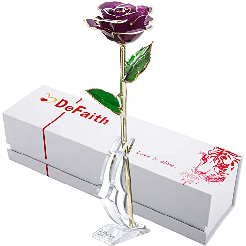 DEFAITH Real Rose 24K Gold Dipped Forever Gifts For Her Valentines Day Anniversary Wedding And