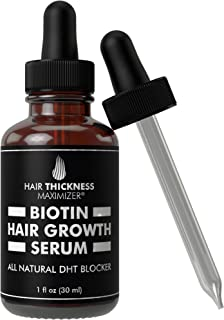 Hair Growth Serum With Biotin Oil By Hair Thickness Maximizer. For Hair Loss + Damaged, Dry, Frizzy Hair. Natural Thickening and Smoothing of Hair and Nourishing of.