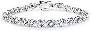 Xoxo Hugs Kisses CZ Tennis Bracelet For Women For Girlfriend Cubic Zirconia 925 Sterling Silver
