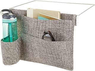 mDesign Organizador colgante con 4 bolsillos – Espaciosa mesita de noche para colgar de algodón y metal – Práctica bolsa organizadora para guardar agua, mando a distancia, tableta, etc. – gris