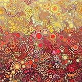 Stoff mit grauen und roten Punkten und Kreisen von Robert