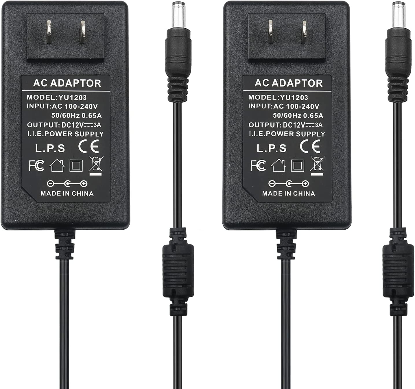 DC 12V 3A Power Adapter, 36 Watt AC 100-240V to DC 12Volt Transformers, Switching Power Supply for LED Strip Light, Camera, Wireless Router 2.5mm 2.1mm X 5.5mm (2 Pack)
