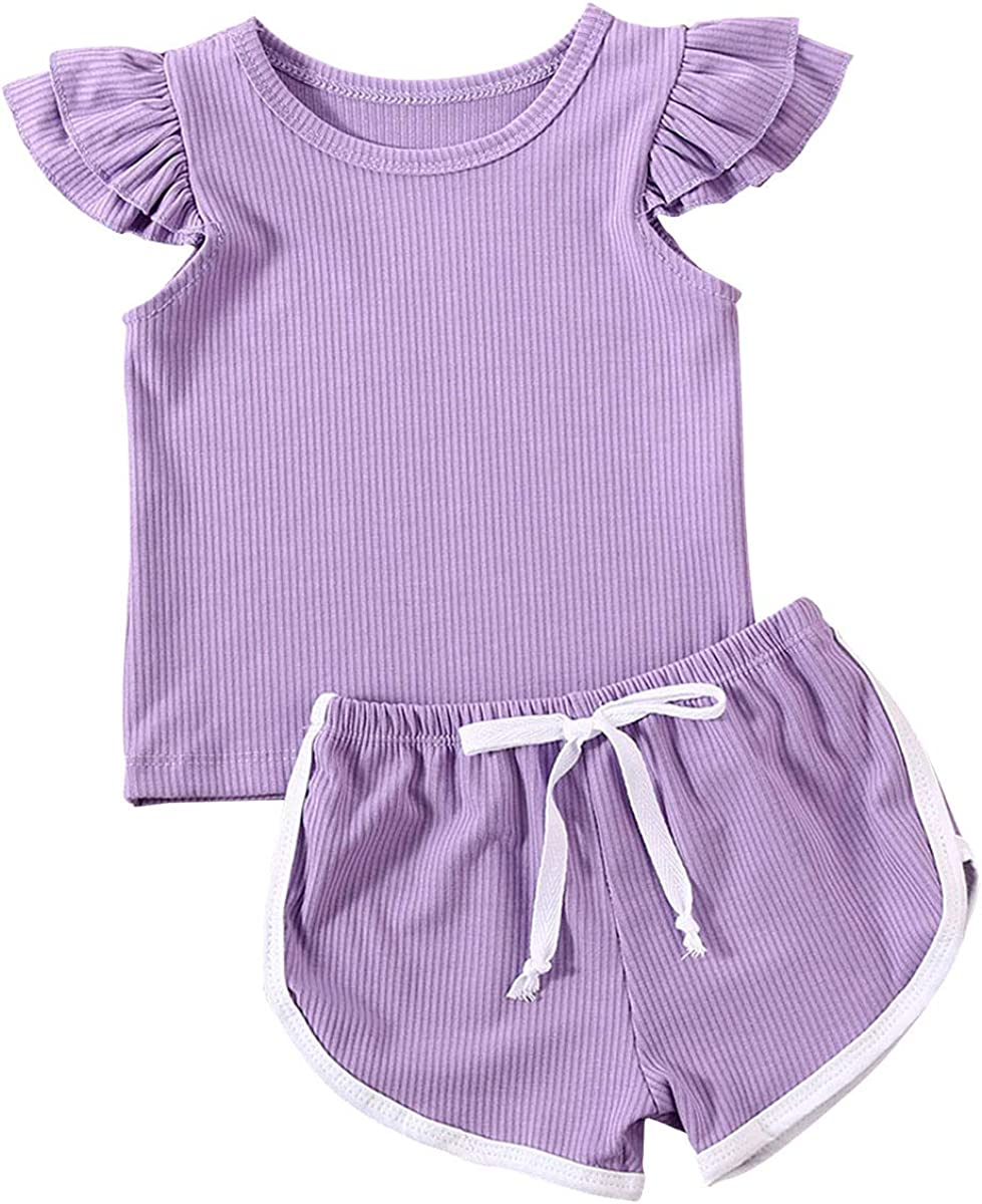 Toddler Baby Girls Summer Knit Outfits Tops Shirt Set + S National products Ruffle Max 44% OFF
