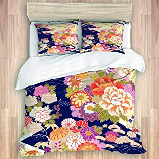 ZOMOY Duvet Cover Set, Japanese Traditional Kimono Motifs Composition Asian Ethnic Floral Patterns Vintage, Decorative 3 Piece Bedding Set with 2 Pillow Shams