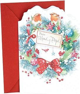Hallmark Vida Spanish Christmas Card for Parents (Birds on Wreath)