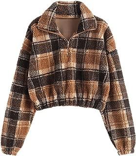 ZAFUL Women's Sherpa Pullover Faux Fur Half Zip Long Sleeve Crop Sweatshirt