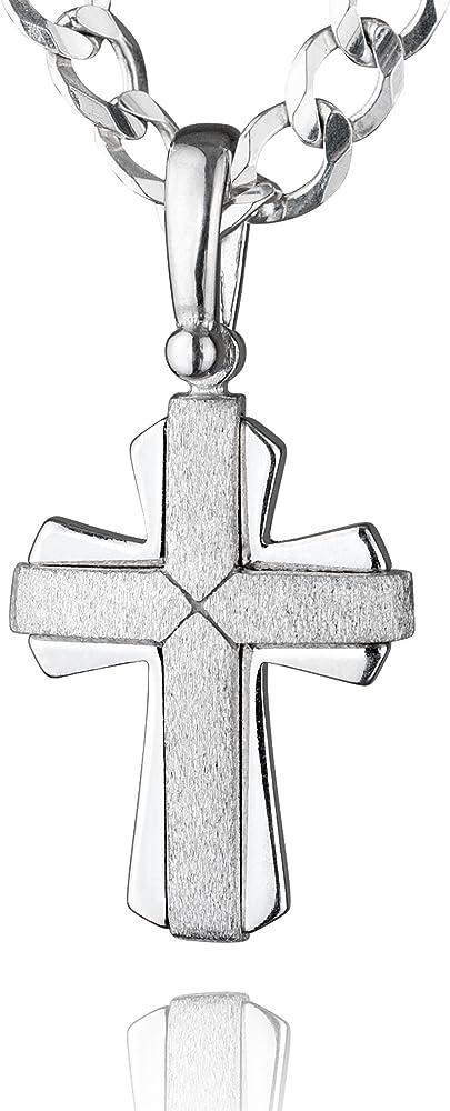 Sterll collana per uomo con ciondolo a forma di croce in argento 925 S160068