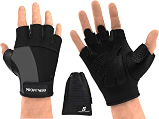 ProFitness Weight Lifting Gym Gloves (Fingerless)   Durable Padded Design for Weightlifting, Cross Training, Bodybuilding & Powerlifting   Strong Grip Workout Accessory for Men & Women