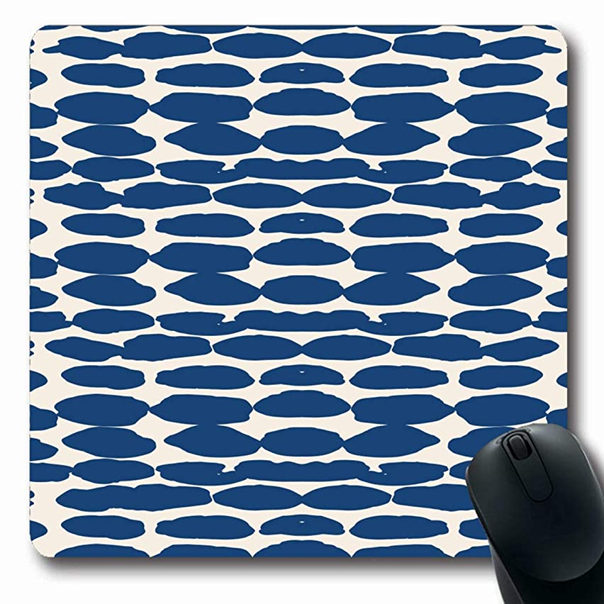 LifeCO Computer Mousepad Dye Beige Batik Ivory White Dot Pattern Shibori Chaotic Aquarelle Watercolor Black Brush Carpet Chaos Oblong Shape 7.9 x 9.5 Inches Oblong Gaming Non-Slip Rubber Mouse Pad Mat