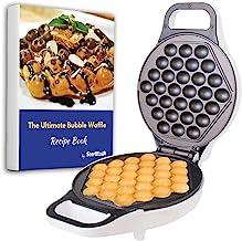 Hong Kong Bubble Waffle Maker by StarBlue with BONUS recipe e-book - White - Make Hong Kong Style Bubble Egg Waffle in 5 m...