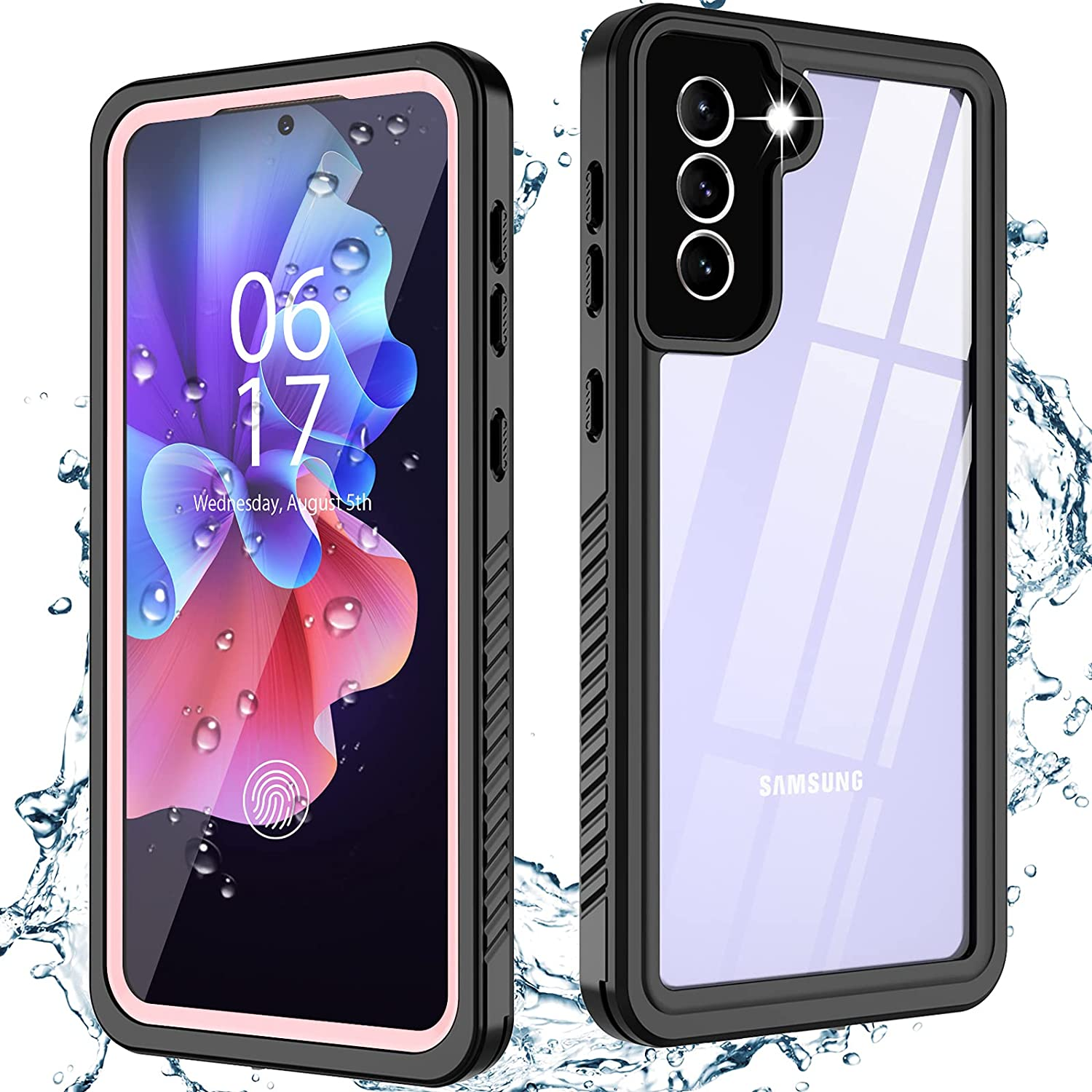 Oterkinfor Samsung Galaxy S21 Case,S21 Waterproof Casewith Built-in Screen Protector Dustproof Shockproof 360 Full Body Underwater Case for Samsung S21 5G 6.2inch (Pink)