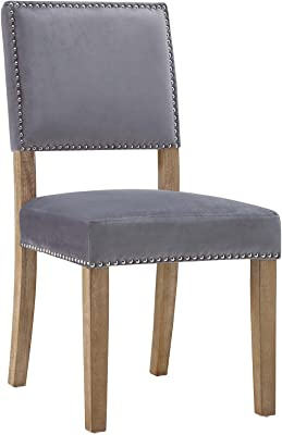 Modway Oblige Modern Farmhouse Performance Velvet Polyester Upholstered With Nailhead Trim Dining Chair Gray Chairs