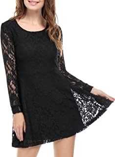 Women's Scoop Neck Sheer Floral Lace Mini Skater Cocktail Party Dress