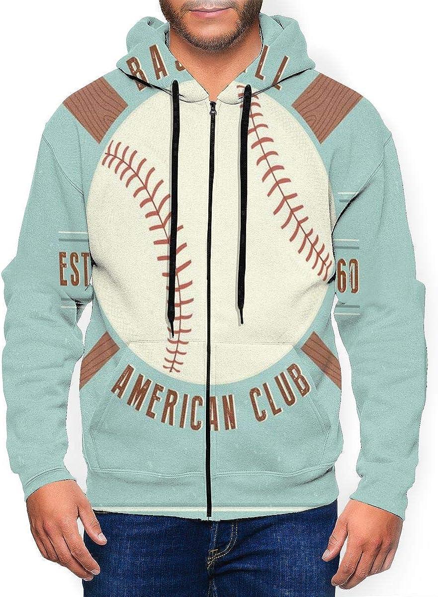 Long Sleeve Hooded Sweatshirt Vintage Baseball Vector Emblem Fashion Hoodies for Men