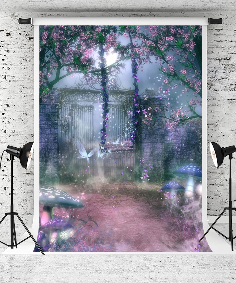 Kate 5x7ft Night Secret Garden Photography Backdrop Pink Floral Baby Girls Portrait Background Summer Misty Forest Backdrop Photo Booth Props