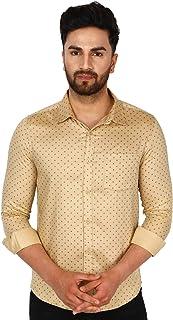 SKAVIJ Men's Floral Slim Fit Long Sleeve Cotton Casual Button Down Dress Shirt