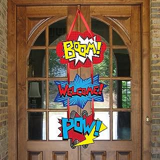 Superhero Birthday Party Supplies Door Sign Welcome Hanger For Kid Superhero Themed Party Decorations Favor