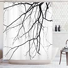 Bathroom Shower Curtains Durable Polyester Extra Long 72'' x 84'', Close Up Shot of Leafless Winter Tree Branches Idyllic Twigs of Oak, Waterproof Bathtub Curtains Accessories Set with Hooks