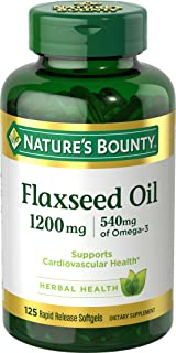 Flaxseed Oil and Omega 3 by Nature's Bounty, Dietary Supplement, Supports Cardiovascular Health, 1200 mg, 125 Softgels
