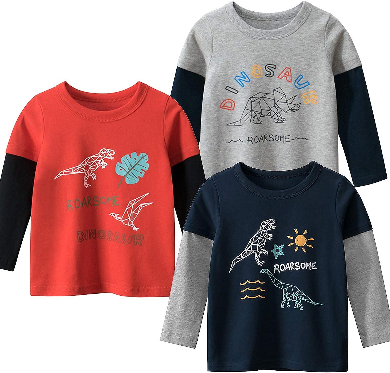 Moon Tree Boys Cotton Long Sleeve Dinosaur Tulsa Mall Cartoon Shir T Max 45% OFF Shirts