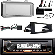 JVC KDR99MBS Marine Radio Stereo Receiver for 1998-2013 Harley Davidson Touring Flht Flhx Flhtc Bundle With Metra Adapter Dash Kit, Weathershield Cover, Handle Bar Control, Enrock Wire Antenna