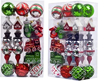 Valery Madelyn 50ct Classic Collection Splendor Shatterproof Christmas Ball Ornaments Decoration New Red Green White,Themed with Tree Skirt(Not Included)