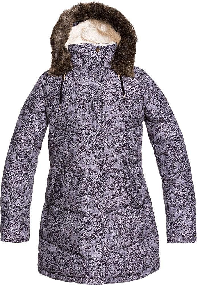 Roxy - Girls Elsie Printed Jacket, Size: 8, Color: Heather Grey Blurry Flowers