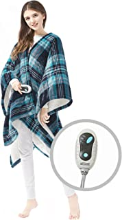 Beautyrest Ultra Soft Sherpa Berber Fleece Electric Poncho Wrap Blanket Heated Throw with..