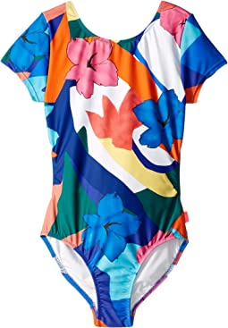 Rainbow Crush Short Sleeve Cut Out Surf One-Piece (Little Kids/Big Kids)