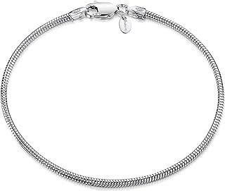 "Amberta 925 Sterling Silver Fine Chain Bracelet Length 7"" inch / 18 cm"