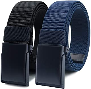 WYuZe Nylon Elastic Stretch Belt-2 Pack Men Casual Golf Belt Military Metal Buckle