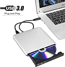 Ploveyy aluminum External Latest USB3.0 Ultra Slim Portable DVD Rewriter Burner,External DVD Drive Optical Drive CD+/-RW DVD +/-RW Superdrive for Apple Mac Macbook Pro and laptop(Silver)