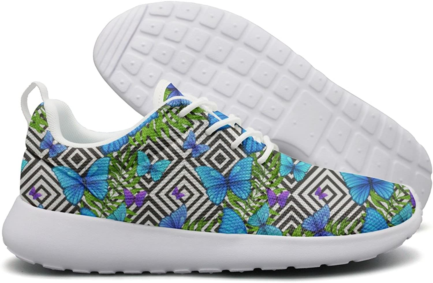 Palm Leaves Tropical With bluee Woman's Cool Sports Running shoes Jogger Cute