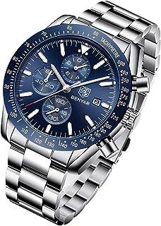 BENYAR Men Watch Fashion Chronograph Analog Quartz 30M Waterproof Business Casual Sport Mesh Band Wrist Watch Clock Timepiece Gifts for Father,Son,Friend