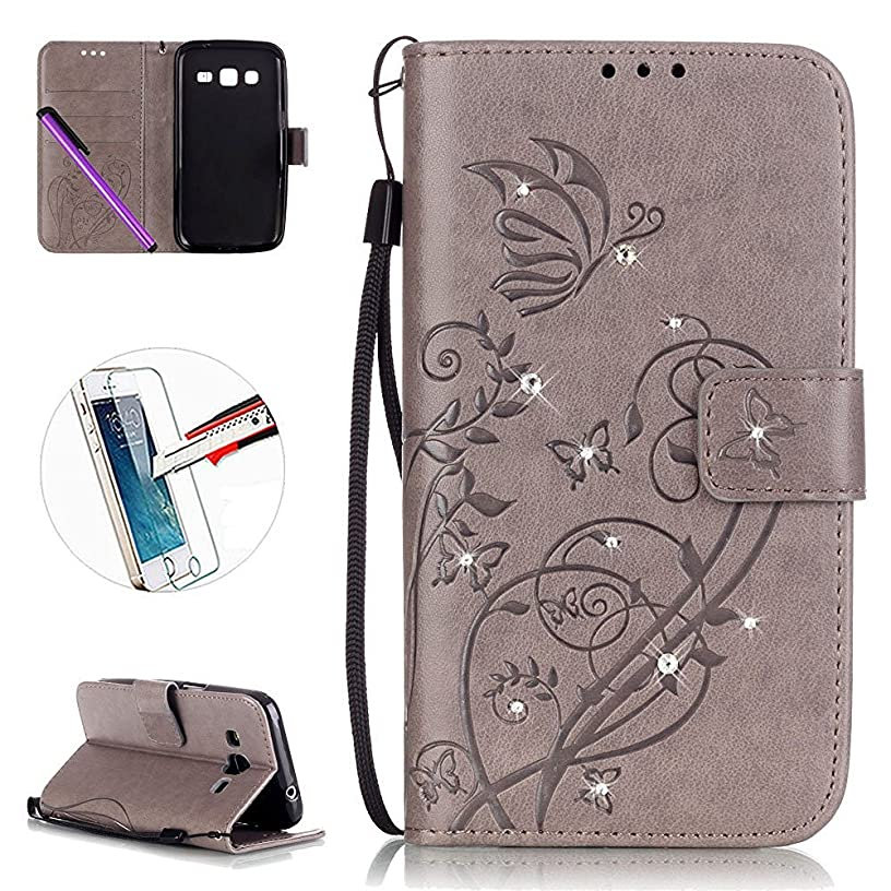 G360 Case, ISADENSER Fashion PU Leather Magnet Wallet Flip Case Cover with Built-in Credit Card for Samsung Galaxy Core Prime G360 + 1pcs Tempered Glass Screen + 1pcs Stylus Pen (Diamonds Gray)