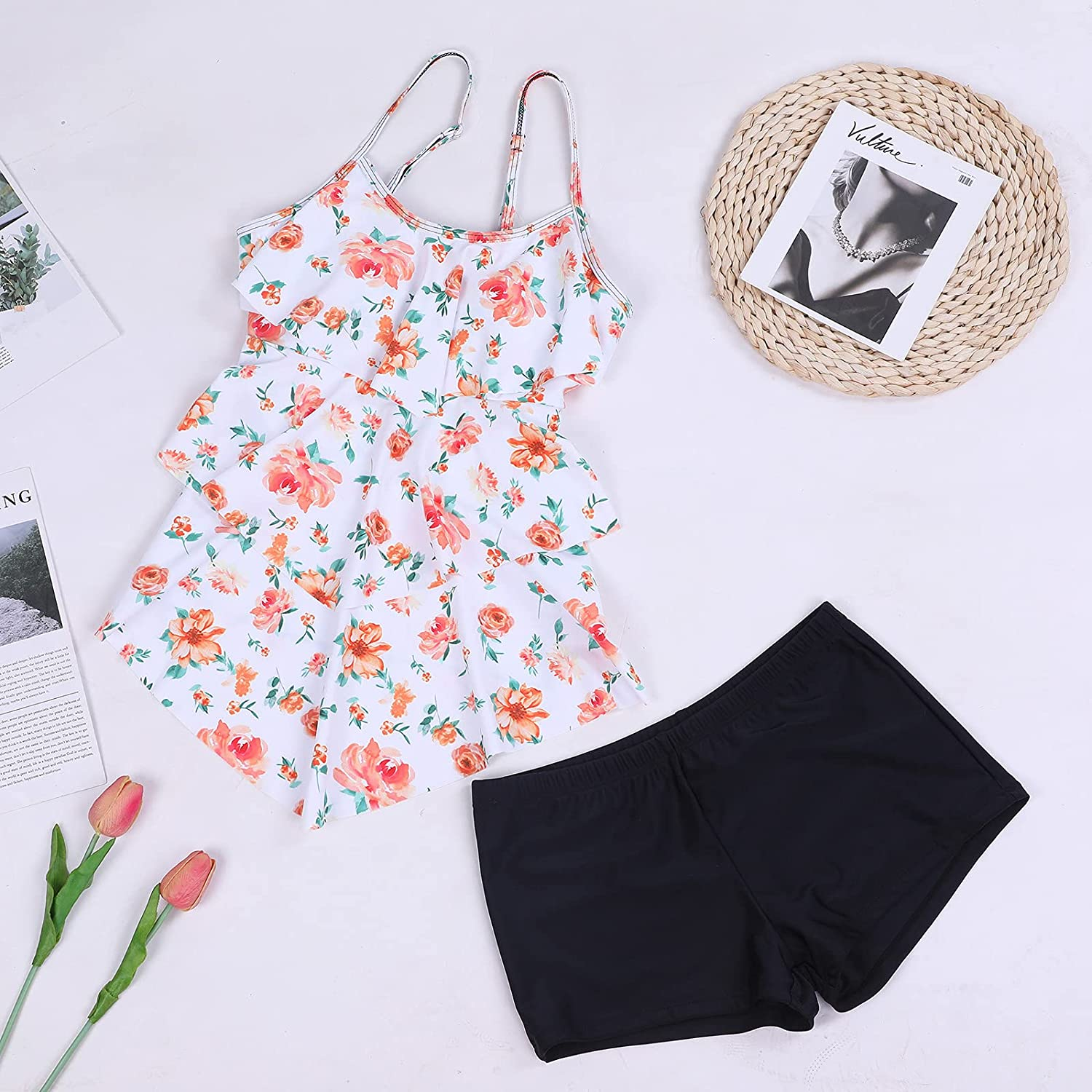 Womens Tankini Swimsuits with Boy Shorts Plus Size Swimwear Modest Flounce Vintage Halter Tank Top Two Piece Bathing Suits